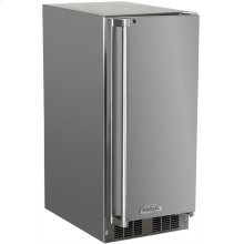 """Marvel 15"""" Outdoor Crescent Ice Machine - Solid Stainless Steel Door, Left Hinge"""