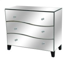 Hollywood 3 Drawer Wave Front Mirrored Chest
