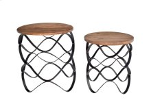 Bengal Manor Wavy Iron Set of Tables w/ Wood Top