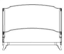Cali King Louis XV Mahogany Bed, Upholstered in Calico Velvet