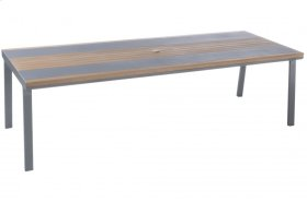 "Copenhagen 102"" Rect. Alum. / Polywood Dining Table w/ umb. hole"