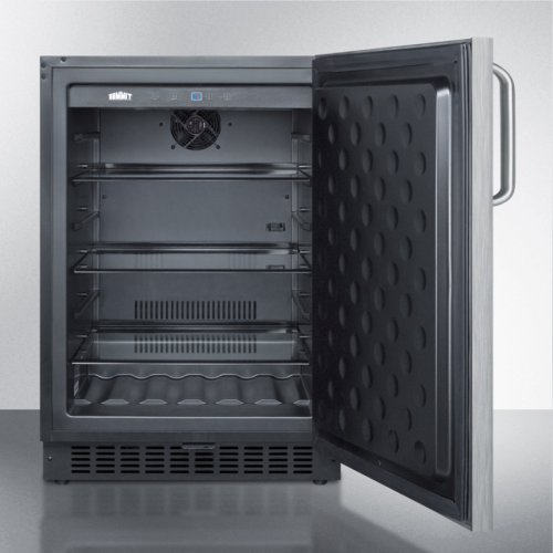 Outdoor All-refrigerator for Built-in Use, With Lock, Digital Thermostat, Stainless Steel Wrapped Door, and Towel Bar Handle