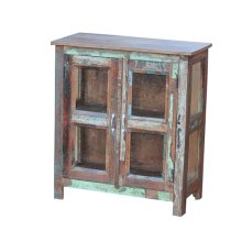 Painted 2 Door Cabinet with Glass Panels