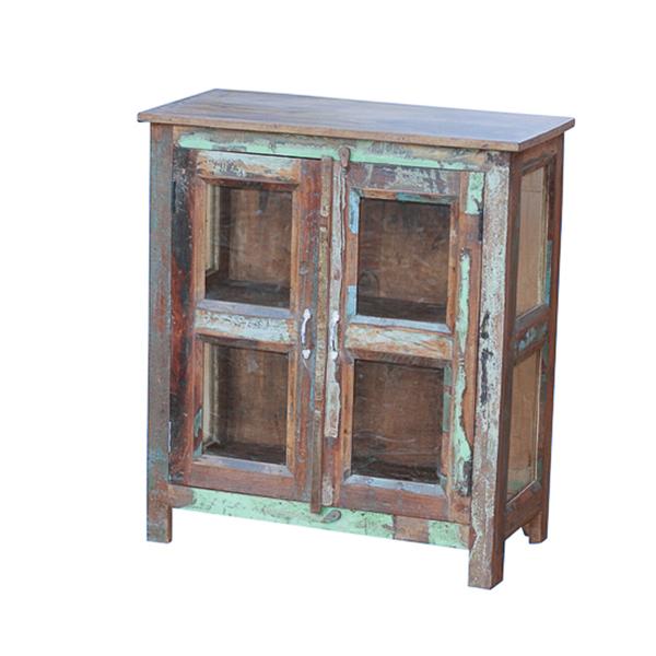 Painted 2 Door Cabinet With Glass Panels Hidden