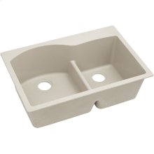 "Elkay Quartz Classic 33"" x 22"" x 10"", Offset 60/40 Double Bowl Drop-in Sink with Aqua Divide, Bisque"