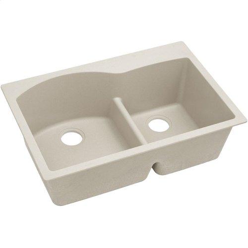 "Elkay Quartz Classic 33"" x 22"" x 10"", Offset 60/40 Double Bowl Drop-in Sink with Aqua Divide, Bisque"