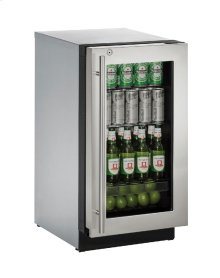 "Modular 3000 Series 18"" Glass Door Refrigerator With Stainless Frame (lock) Finish and Right-hand Hinged Door Swing"