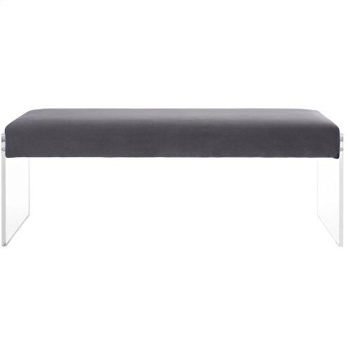 Roam Velvet Bench in Gray