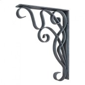 """1-7/8"""" x 10"""" x 13-1/2"""" Metal (Iron) Art Nouveau Bar Bracket. Finish: Swedish Iron Machined. Mounting Screws (#8x3/4"""") Included. Not for outdoor use."""