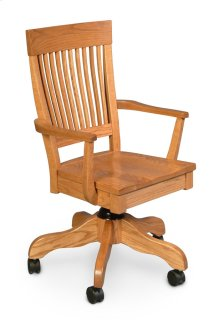Homestead Arm Desk Chair, Leather Cushion Seat