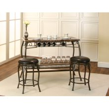 Sunset Trading Tiffany Bar with Built-In Wine Rack & Two Stools