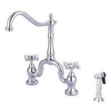 Carlton Kitchen Bridge Faucet - Metal Porcelain Cross Handles - Polished Chrome