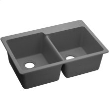 "Elkay Quartz Classic 33"" x 22"" x 9-1/2"", Offset Double Bowl Drop-in Sink, Greystone"