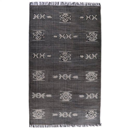 5'x8' Size Tribal Faded Black Rug