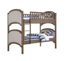 Complete Full Bunk Bed Upholstered 2 Hdbds-2ftbds-4 Side Rails-1 Ladder-2 Guard Rails Gray #620