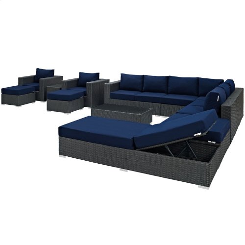 Sojourn 12 Piece Outdoor Patio Sunbrella® Sectional Set in Canvas Navy
