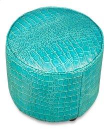 Round Footrest, Embossed Croc Aqua Lthr