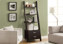 "BOOKCASE - 69""H / CAPPUCCINO LADDER W/ 2 STORAGE DRAWERS"