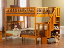 Woodland Staircase Bunk Bed Full over Full in Caramel Latte