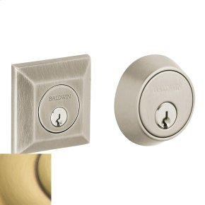 Satin Brass and Brown Squared Deadbolt