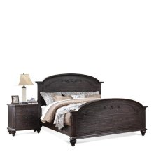 Bellagio Queen Carved Footboard Weathered Worn Black finish