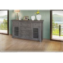 6 Drawer & 2 Doors Console Gray Finish