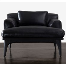 Salk occasional chair black leather black concrete