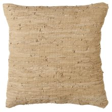 Beige Leather Chindi Floor Pillow (Each One Will Vary).