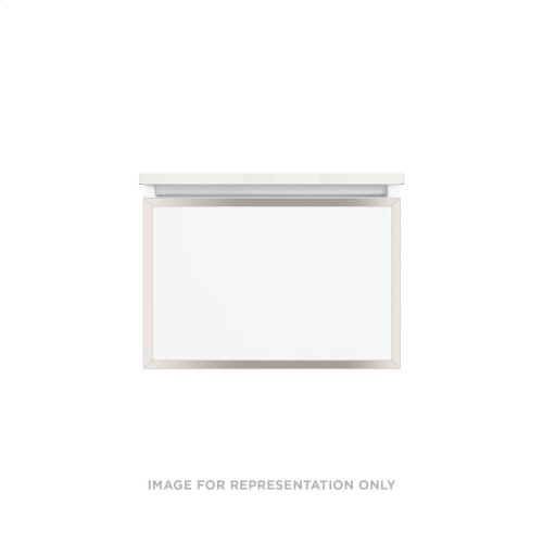 """Profiles 24-1/8"""" X 15"""" X 18-3/4"""" Framed Single Drawer Vanity In Matte White With Polished Nickel Finish, Slow-close Full Drawer and Selectable Night Light In 2700k/4000k Color Temperature"""