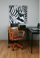 Deluxe Wood Banker's Chair With Vinyl Padded Seat In Fruit Wood Finish With Brown Vinyl Product Image