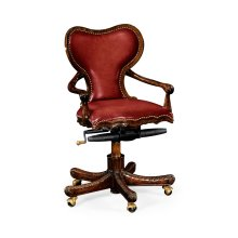 Double Lobed Shaped Mahogany Office Chair, Upholstered in Red Leather