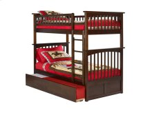 Columbia Bunk Bed Twin over Twin with Urban Trundle Bed in Walnut