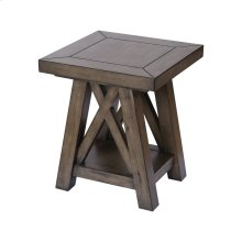 Manteo Farmhouse Grey Brown Stain Side Table