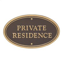 Private Residence Oval Wall/Lawn Statement Plaque - Bronze/Gold