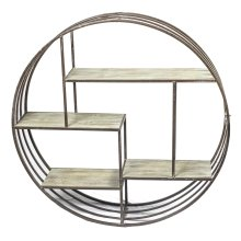 Round Wood/metal Wall Shelf