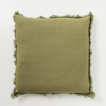 Frayed Linen Pillow - Olive
