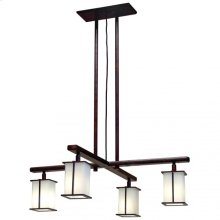 Cross Arm Chandelier- Square Glass - C455 Silicon Bronze Light