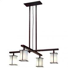 Cross Arm Chandelier- Square Glass - C455 White Bronze Dark
