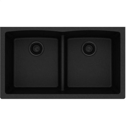 "Elkay Quartz Classic 33"" x 19"" x 10"", Equal Double Bowl Undermount Sink with Aqua Divide, Black"
