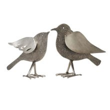 Silver Etched Birds, Set of 2