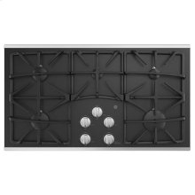 """36"""" Built-In Gas on Glass Deep Recessed Stainless Steel Cooktop"""