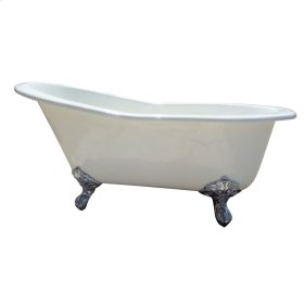 "Halifax 61"" Cast Iron Slipper Tub - No Faucet Holes - White"