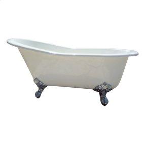 "Giselle 57"" Cast Iron Slipper Tub - No Faucet Holes - Polished Chrome"