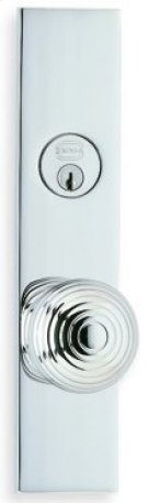 Exterior Modern Mortise Entrance Knob Lockset with Plates - Solid Brass in US26 (Polished Chrome Plated) Product Image