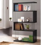 - Four tier bookcase finished in black- Clear tempered glass panels- Constructed with glass, MDF, and engineered veneer- Also available in white (#800300) Product Image