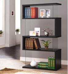 - Four tier bookcase finished in black- Clear tempered glass panels- Constructed with glass, MDF, and engineered veneer- Also available in white (#800300)