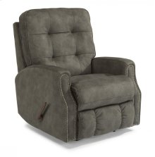 Devon Fabric Swivel Gliding Recliner with Nailhead Trim