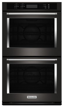"""30"""" Double Wall Oven with Even-Heat True Convection - Black Stainless"""