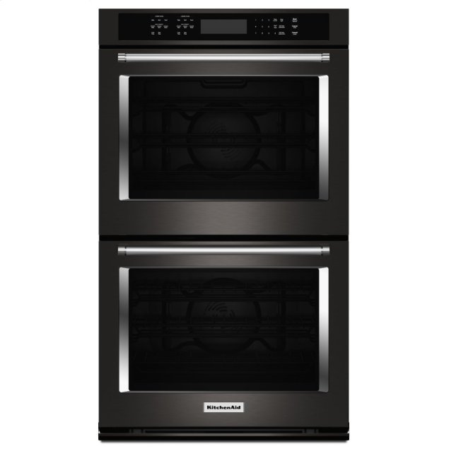 """KitchenAid 30"""" Double Wall Oven with Even-Heat™ True Convection - Black Stainless Steel with PrintShield™ Finish"""