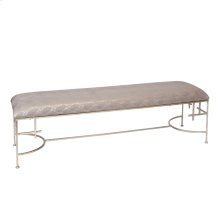 "60""l Hammered Silver Leaf Bench W. Faux Snakeskin Upholstery"